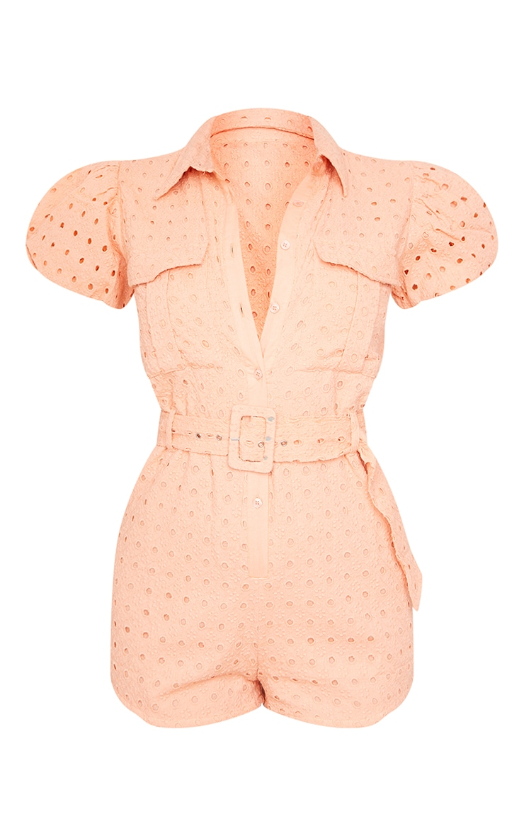 Peach Broderie Anglaise Belted Short Sleeve Shirt Romper 5