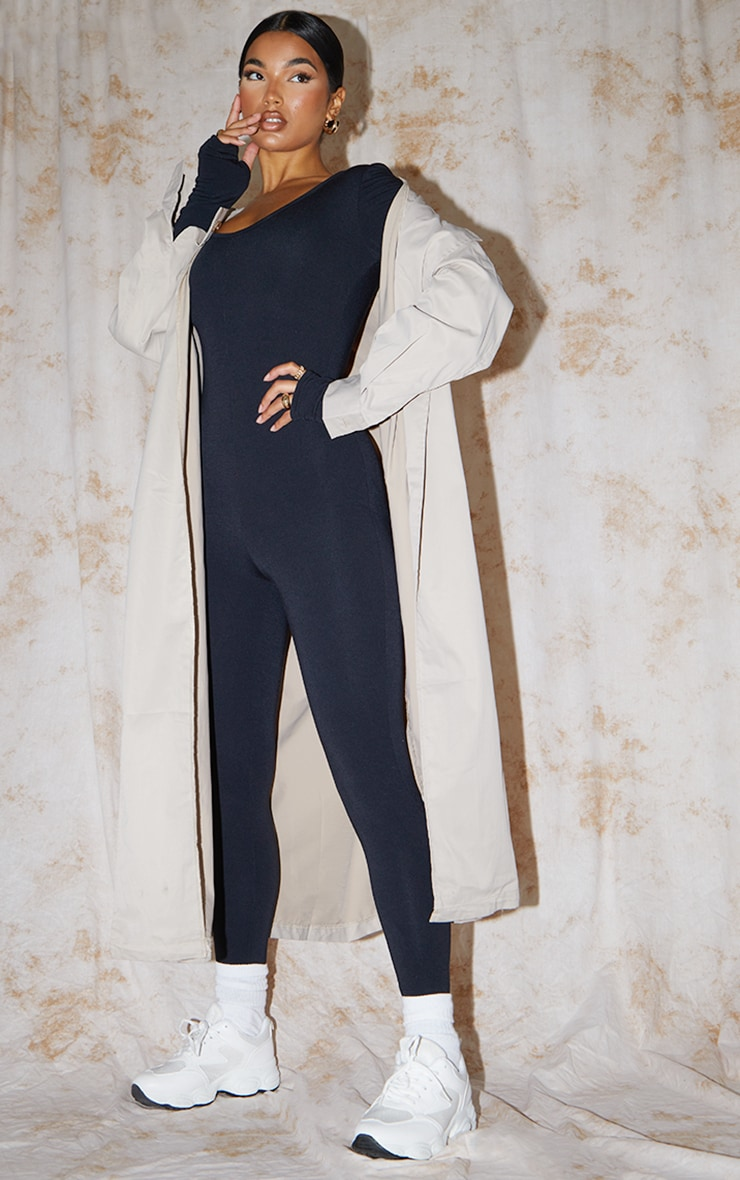 Recycled Black Contour Jersey Thumbhole Scoop Neck Jumpsuit 1