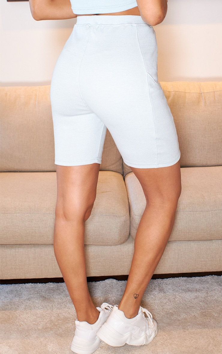 Light Blue Textured Rib Bike Shorts 3