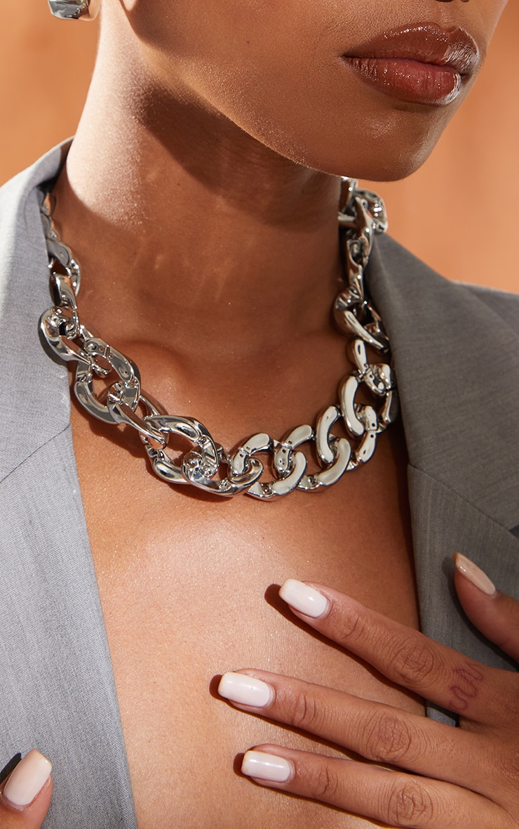 Silver Flat Chunky Curb Chain Necklace 1