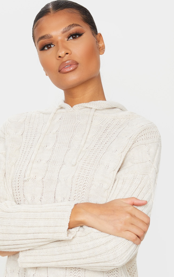 Stone Cable Knit Longline Hoodie 4