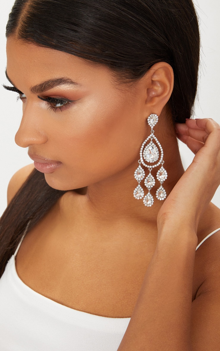 Silver Tear Drop Diamante Earrings 1