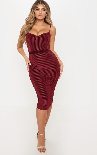 492ed0ad10f Burgundy Velvet Lace Panel Midi Dress