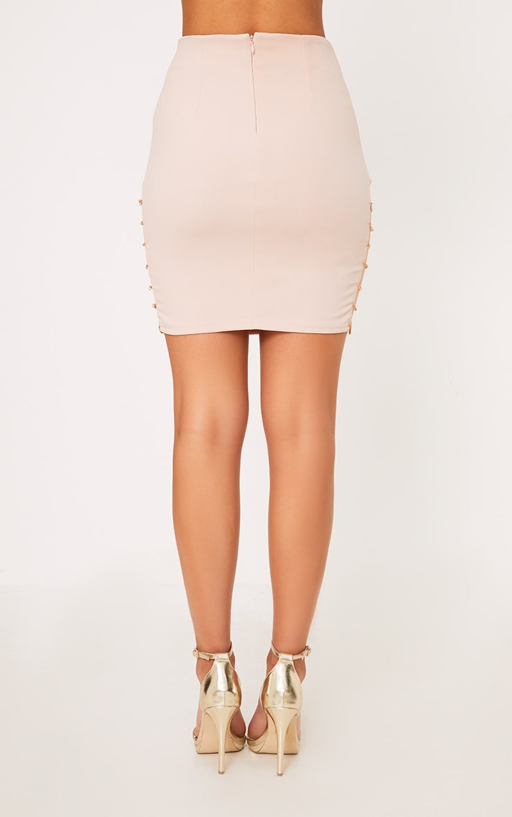 Clea Nude Chain Split Mini Skirt  5