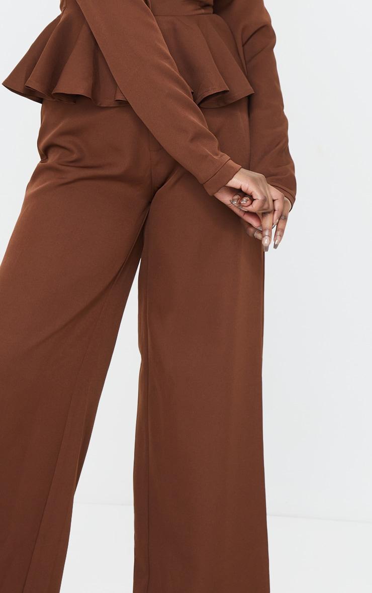 Chocolate High Waisted Woven Wide Leg Pants 4