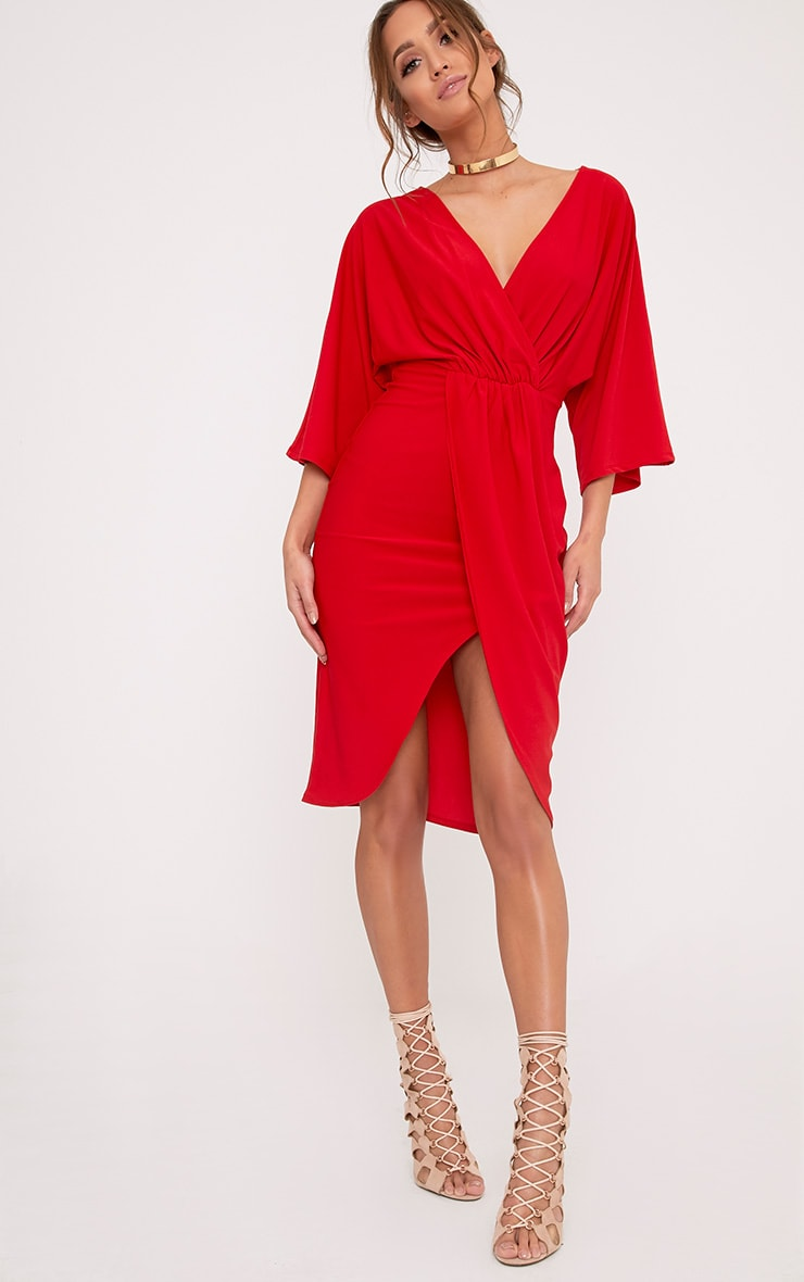 Archer Red Cape Midi Dress 1