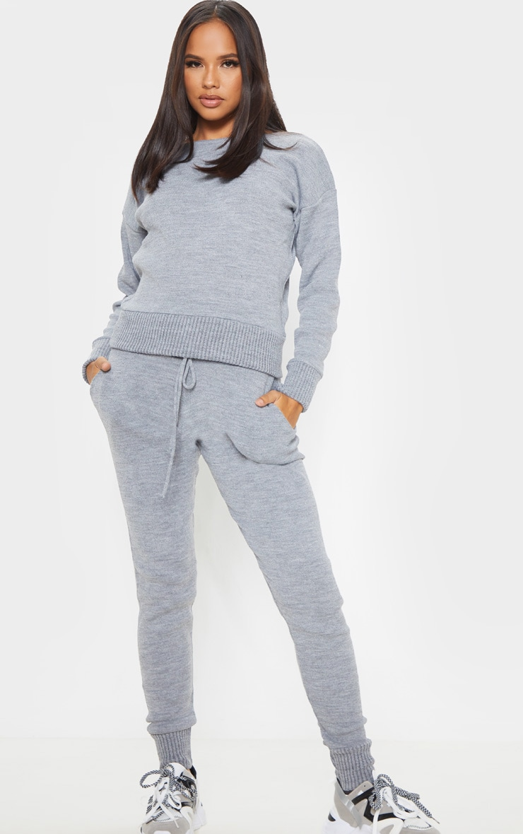 Dark Grey Jogger Knitted Lounge Set 1