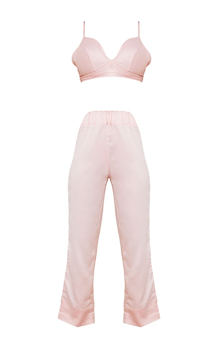 Pink Satin Triangle Bralet And Trouser Pj Set 5