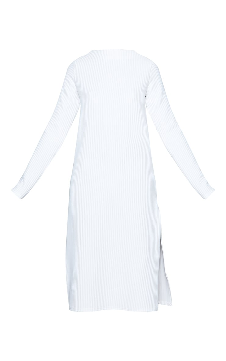 White Thick Rib High Neck Long Sleeve Midi Dress 5