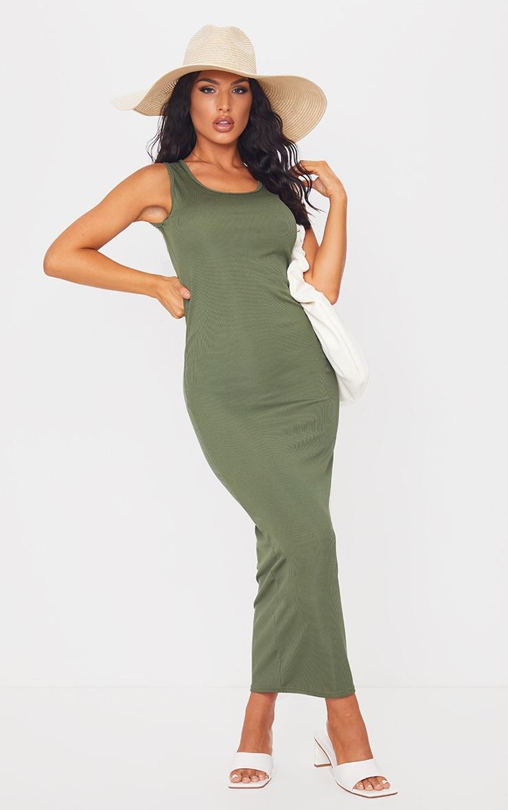 Khaki Basic Rib Maxi Dress 3