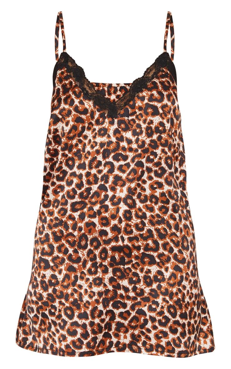 Leopard Print Lace Trim Satin Nightie 4