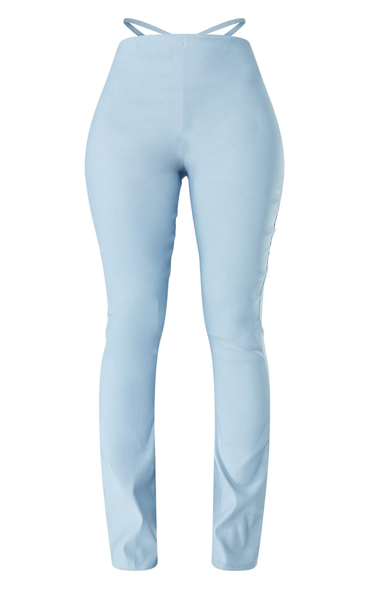 Light Blue Stretch Woven Cut Out Detail Skinny Flared Trousers 5