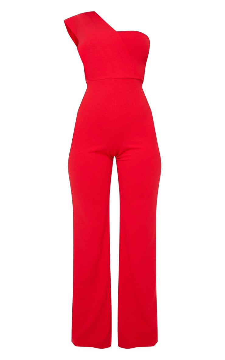 Red Drape One Shoulder Jumpsuit 3