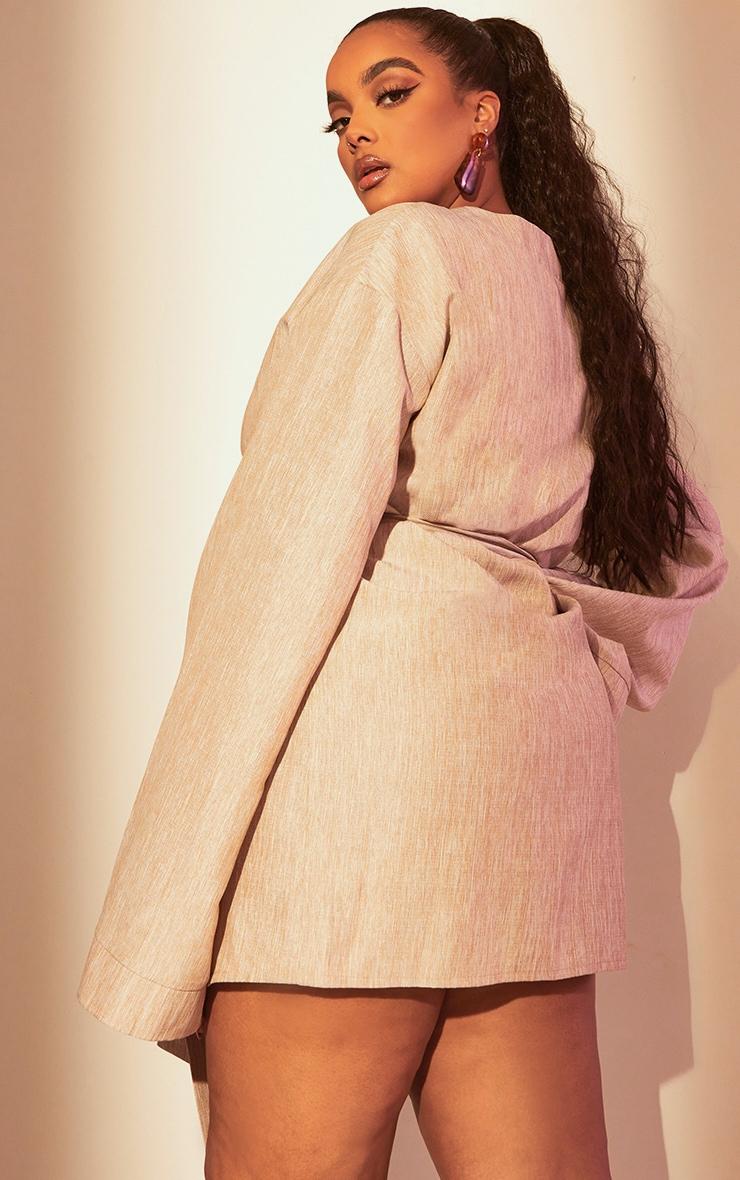 Plus Stone Flare Sleeve Wrap Dress 2