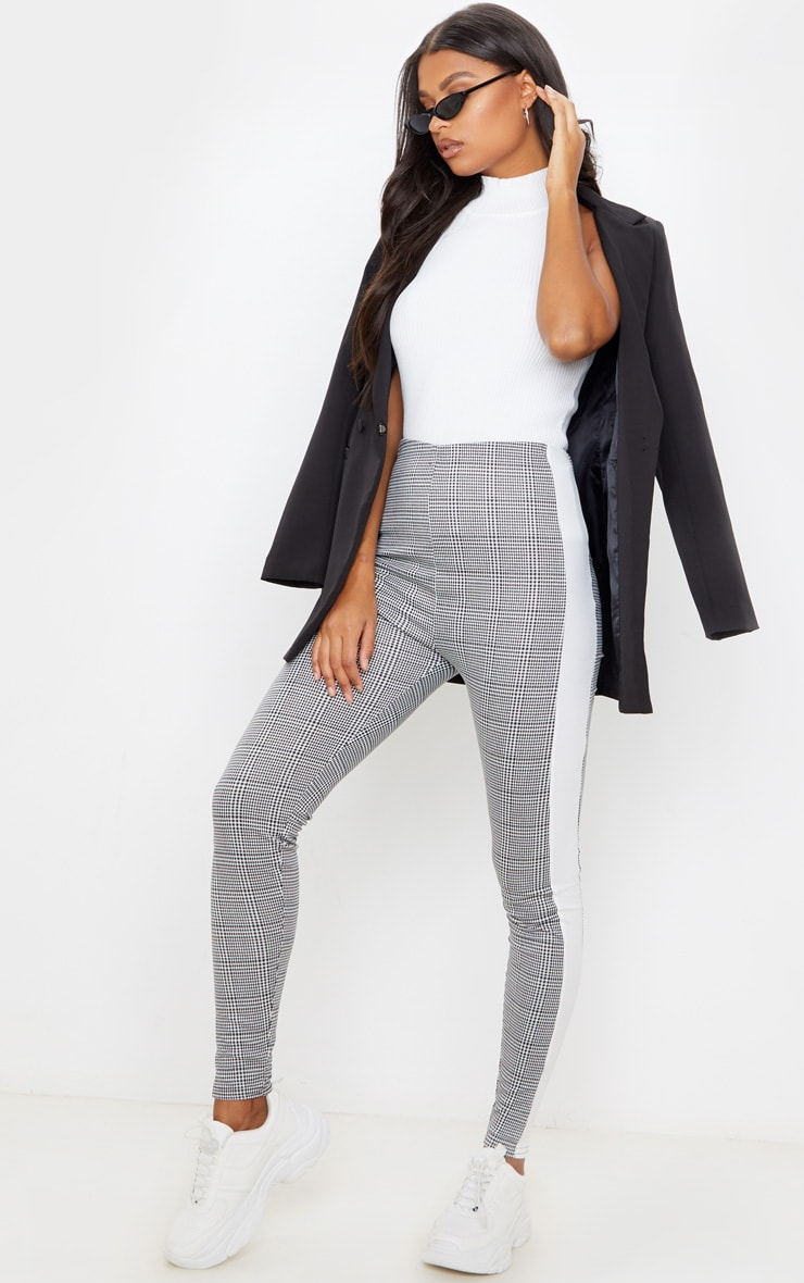 Black Checked Side Stripe Legging 1