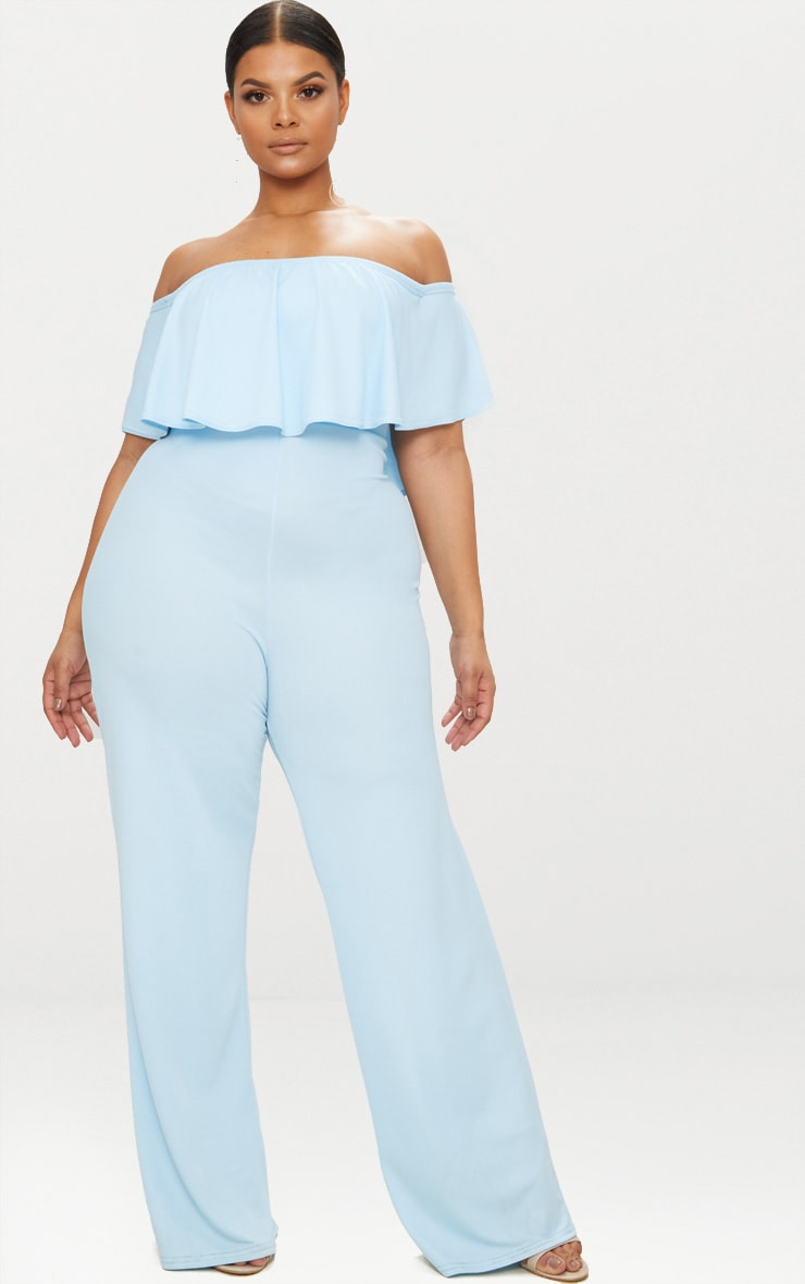 Plus Dusty Blue Bardot Frill Jumpsuit 1