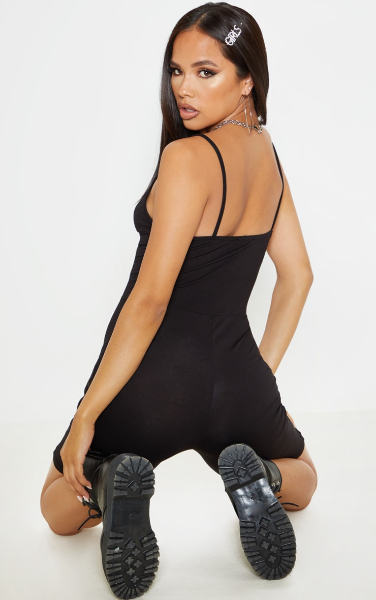 Black Basic Strappy Plunge Unitard 2