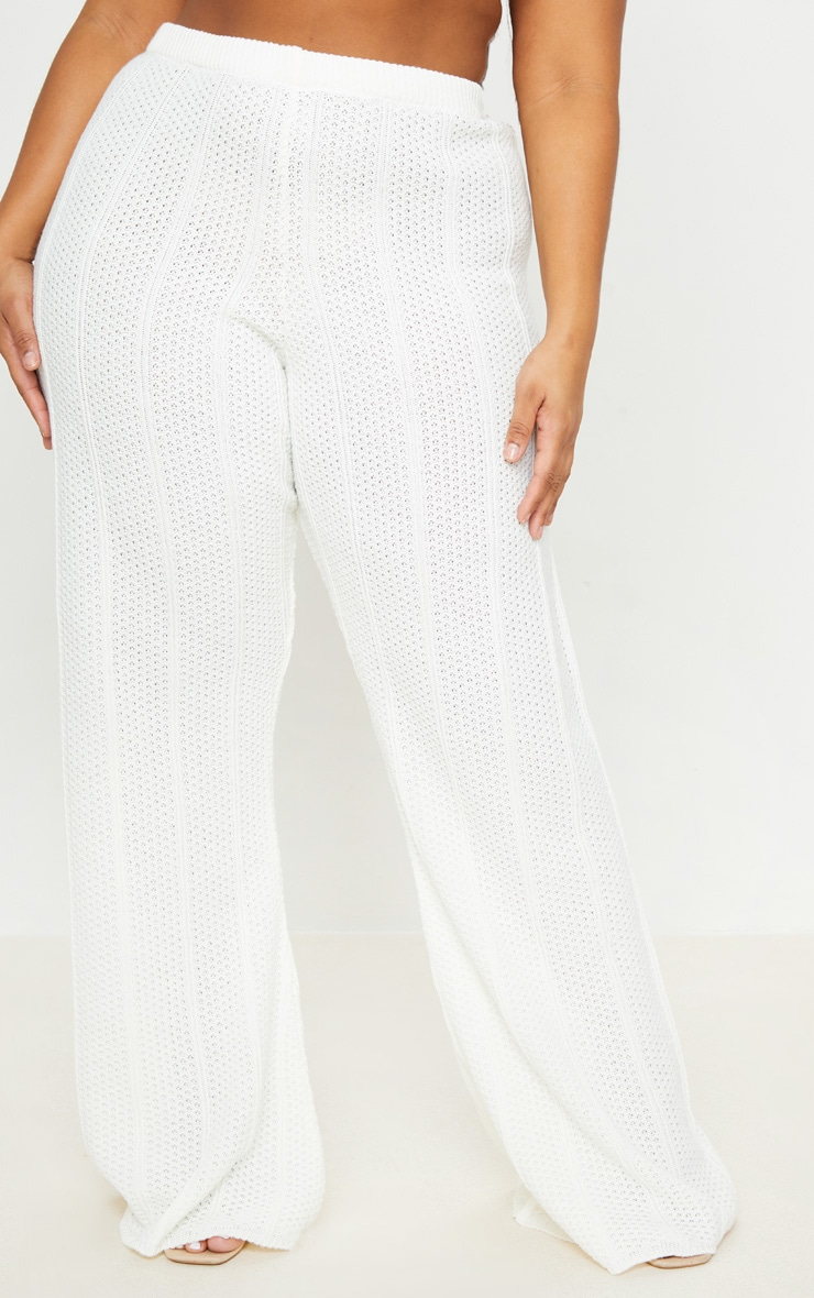 Plus Cream Knit Wide Leg Pants 2