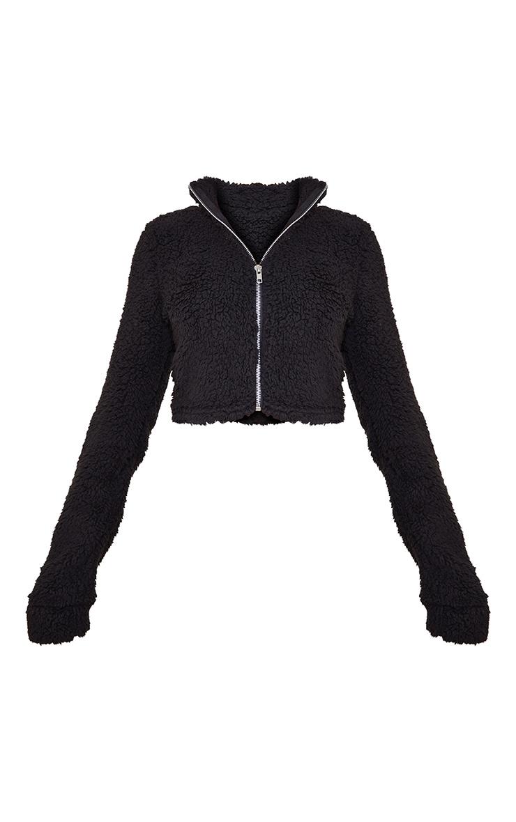 Petite Black Soft Borg Zip Through Cropped Jacket 5