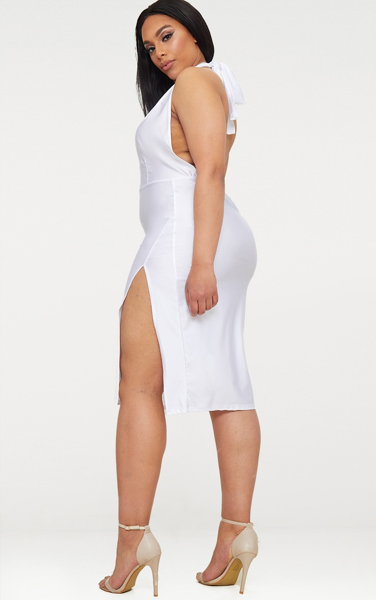 Plus White Disco Slinky Halterneck Midi Dress 2