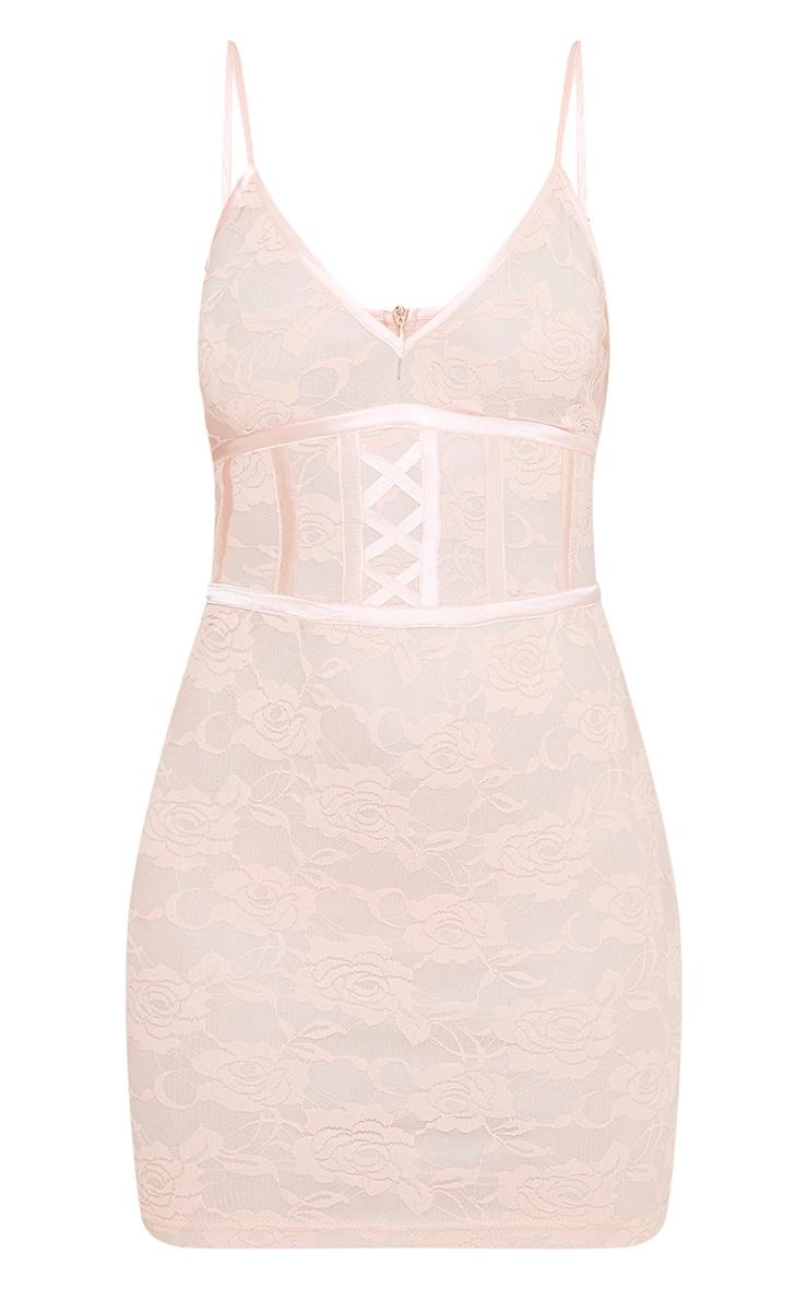 Sasha Blush Corset Detail Strappy Lace Bodycon Dress 3