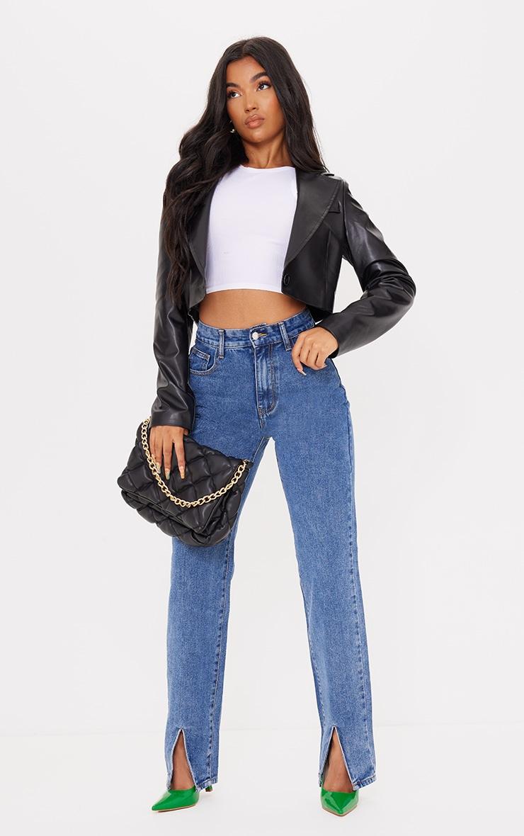 Mid Blue Wash Front Split Long Leg Straight Jeans 1
