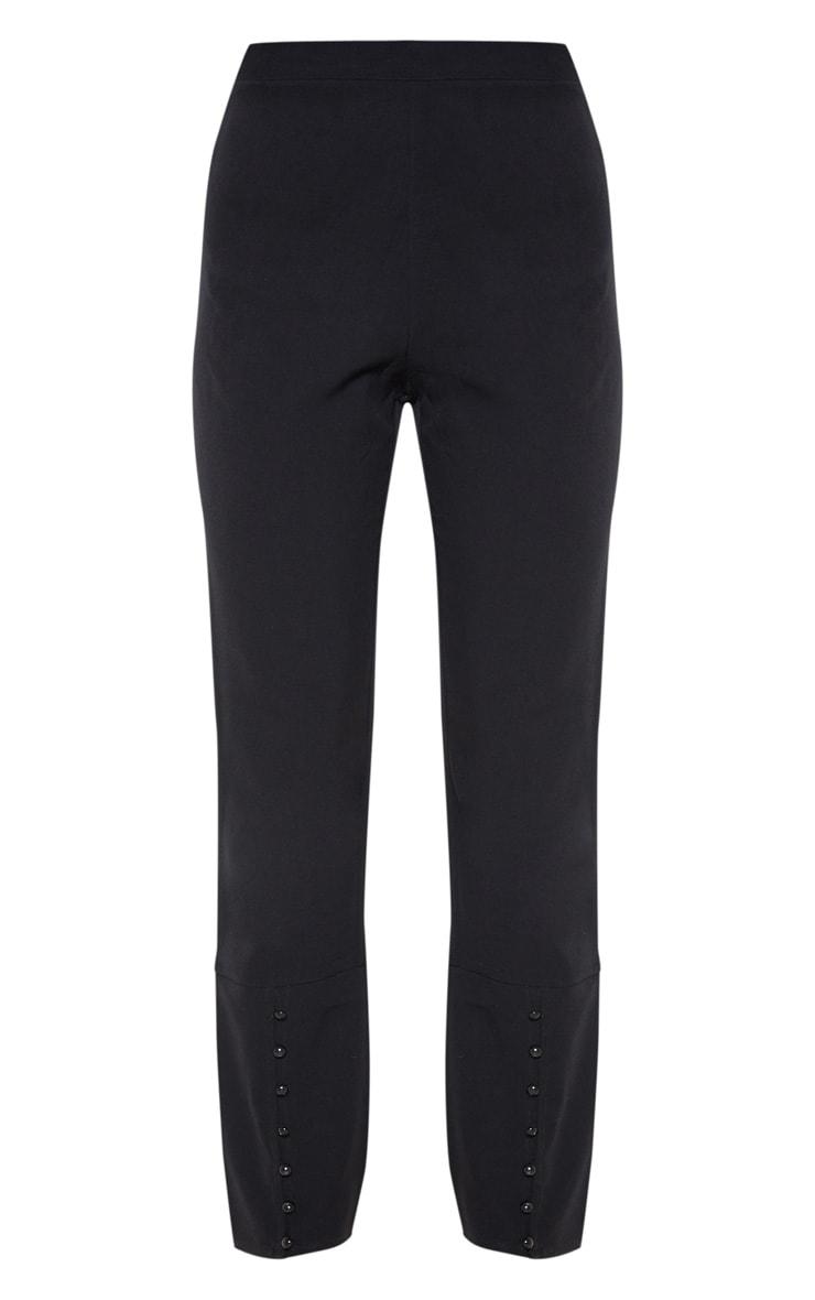 Black Woven Button Cuff Detail Straight Leg Pants 3