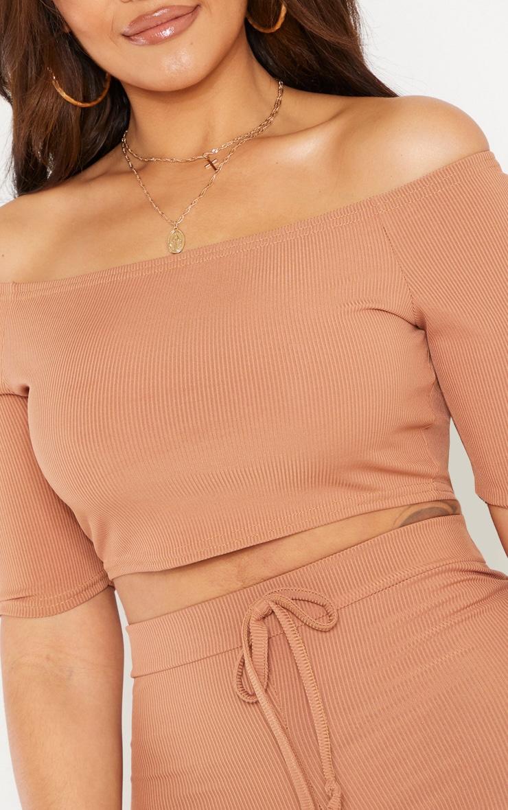 Shape Camel Short Sleeve Ribbed Bardot Crop Top 5