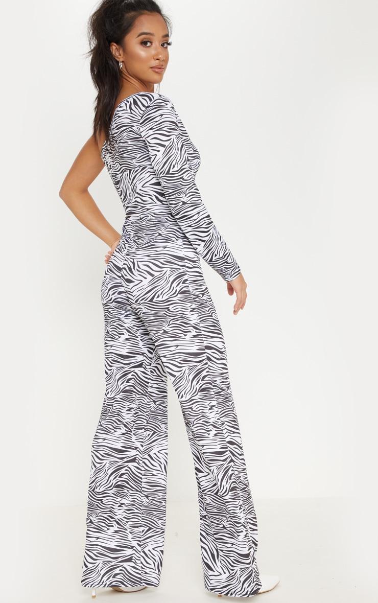 Petite White  Zebra Print One Shoulder Jumpsuit 2