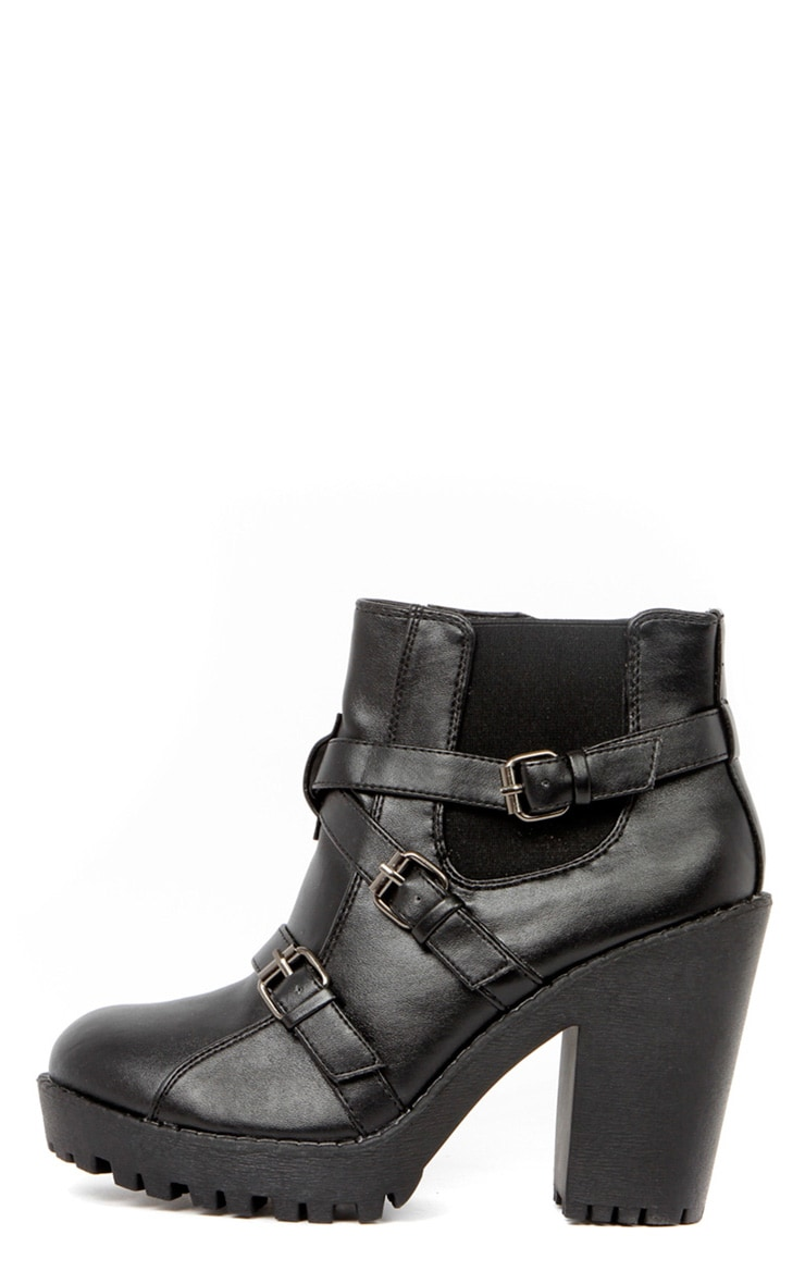 Stacie Leather Chunky Strap Buckle Boots 1