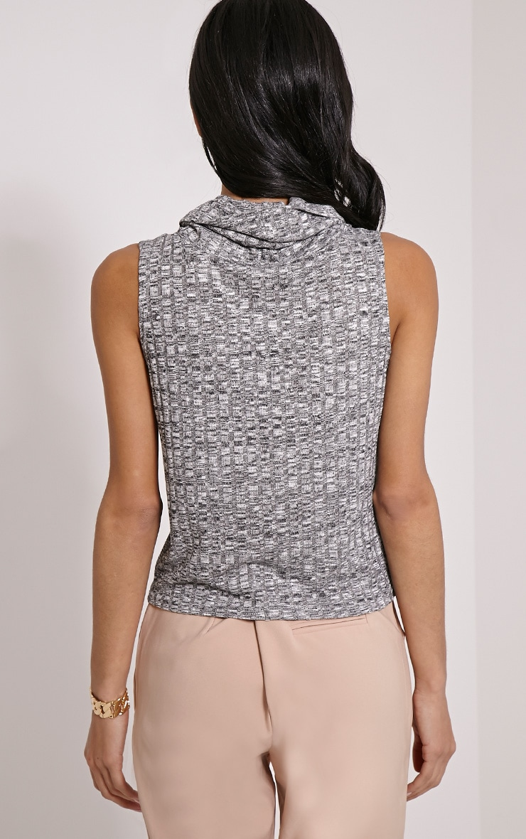Dione Grey Marl Knitted Roll Neck Top 2