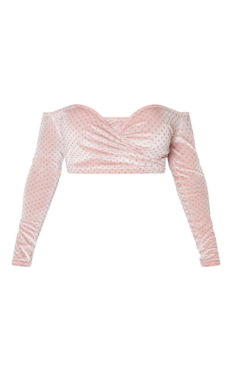 Shape Pink Glitter Velvet Bardot Wrap Crop Top 2