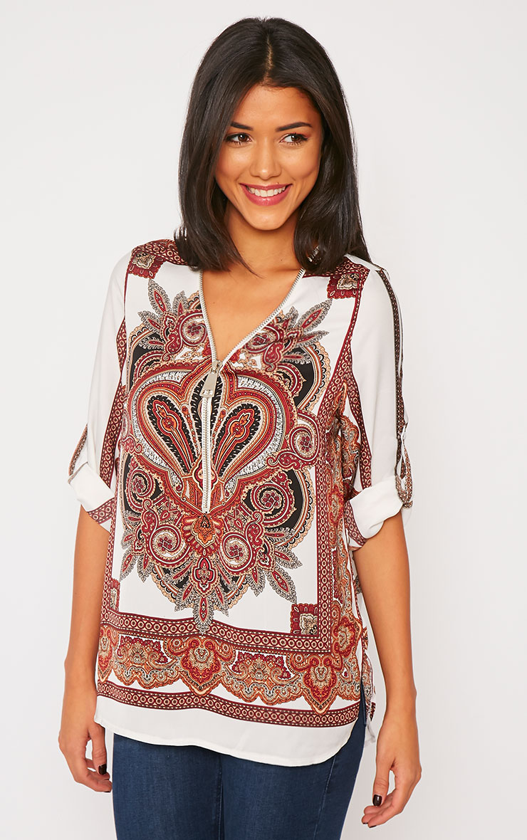 Mallory Cream Paisley Print Zip Front Top 3