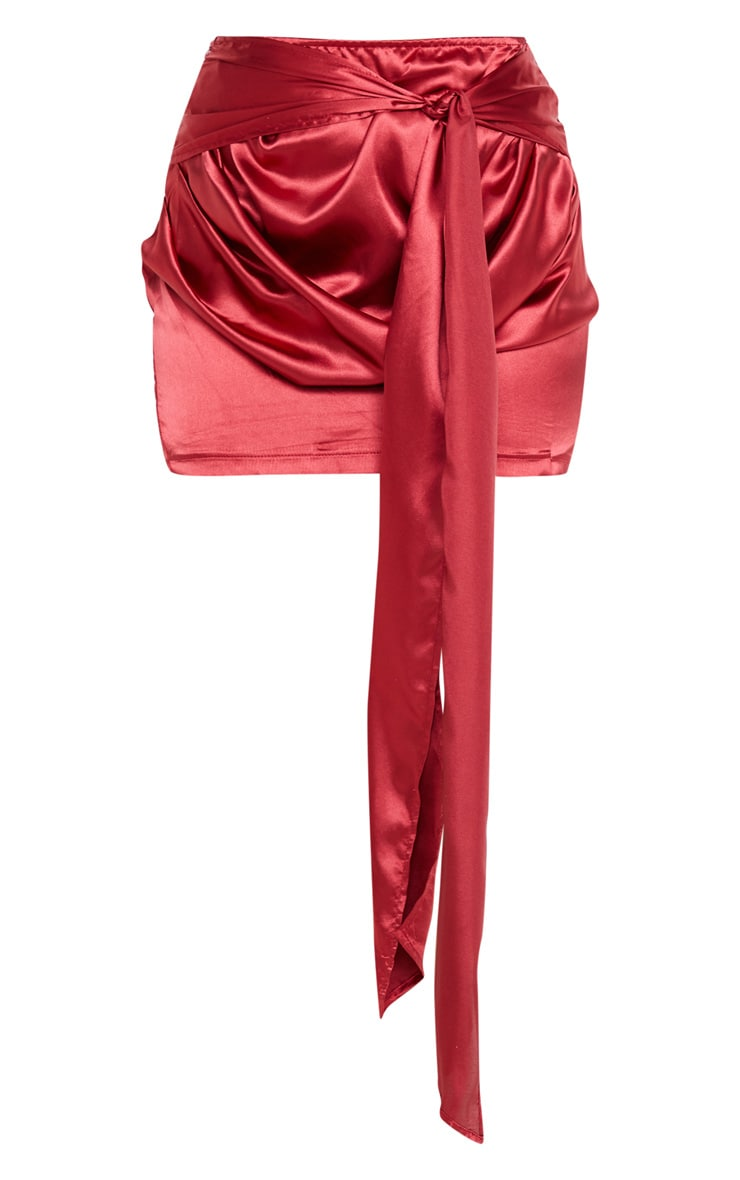 Scarlet Satin Woven Ruched Side Tie Detail Mini Skirt 3