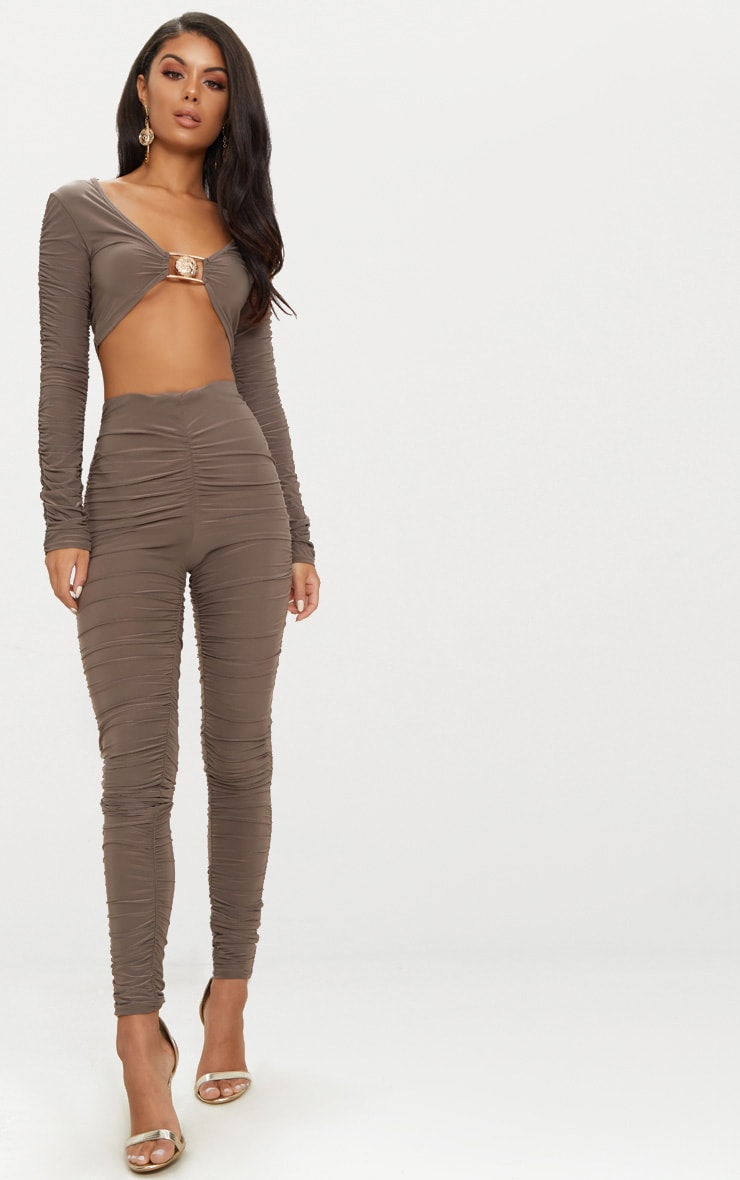 Mocha Lion Clasp Slinky Ruched Long Sleeve Crop Top  4