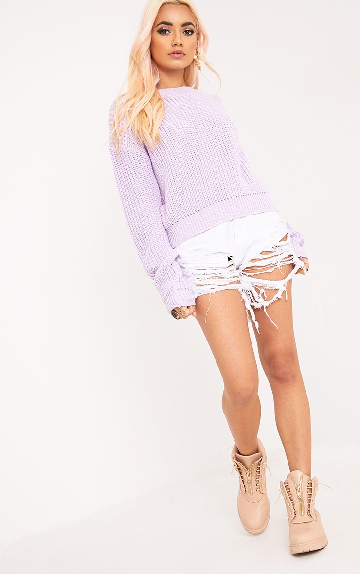 Cara Lilac Cropped Knit Jumper 4