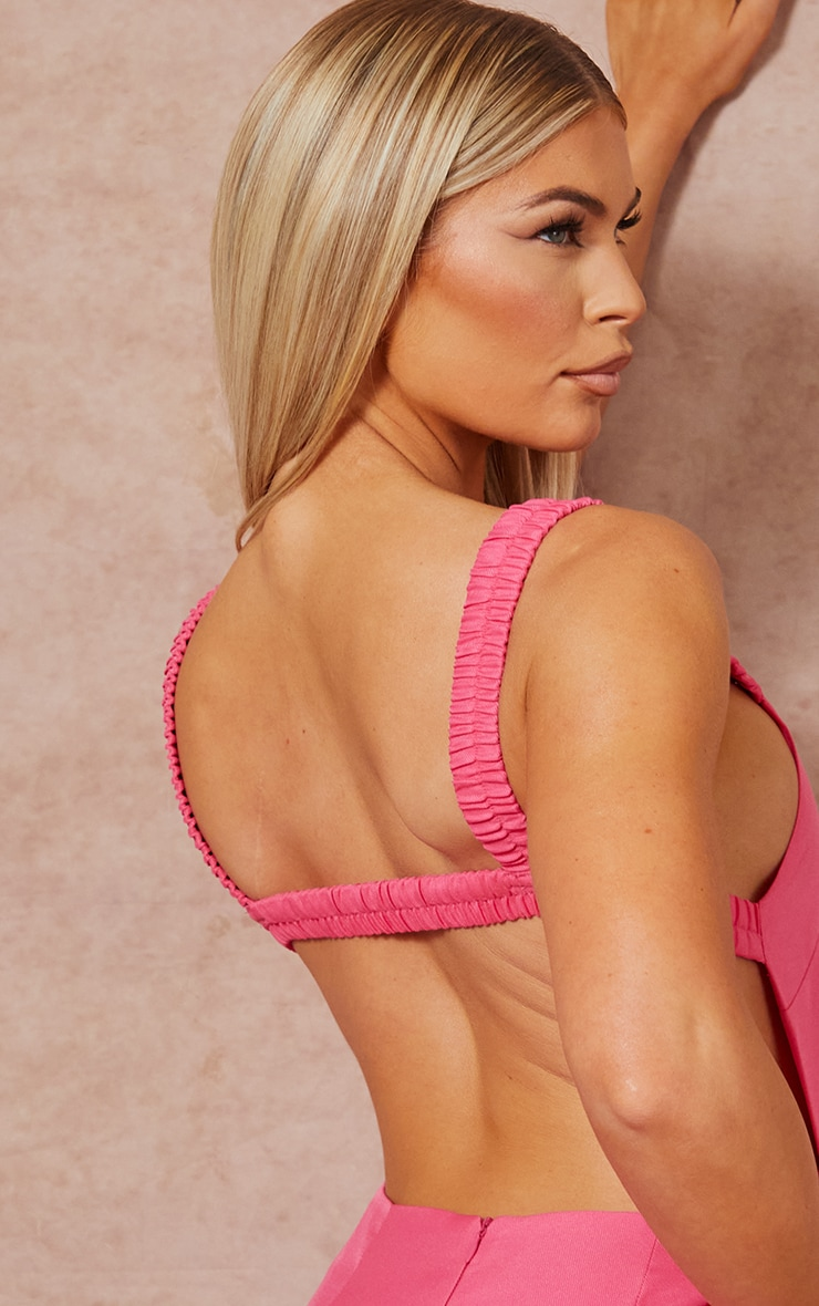 Bright Pink Woven Open Back Dress 4