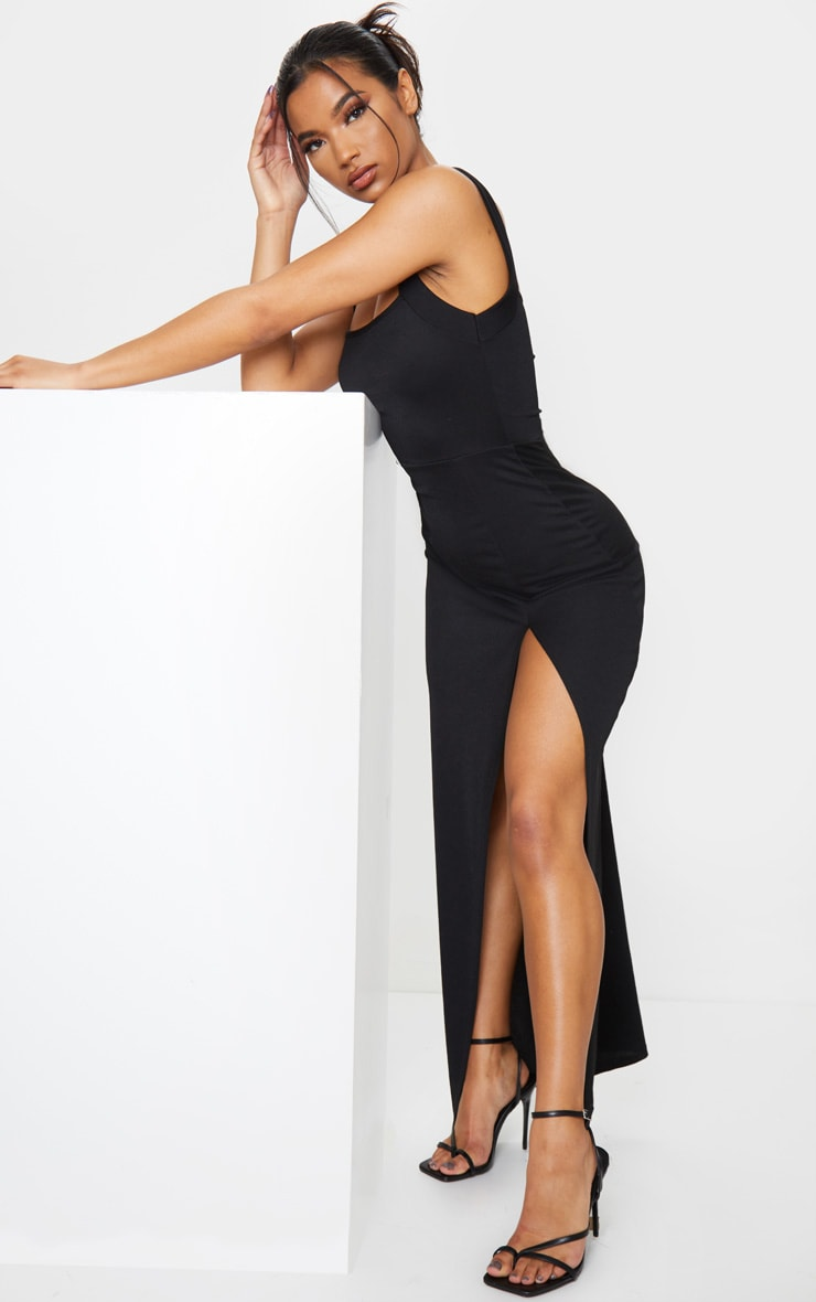 Black Straight Neck Maxi Dress 3