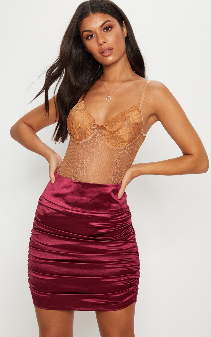 Burgundy Satin Ruched Side Detail Mini Skirt