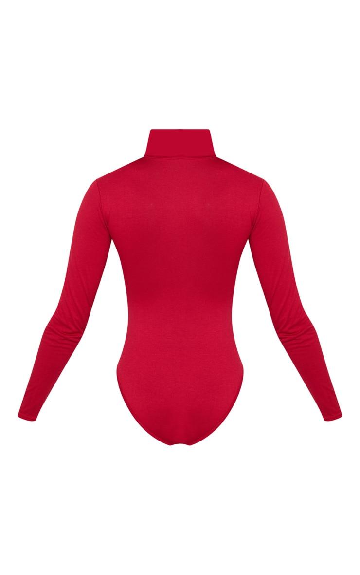 Deep Burgundy Roll Neck Long Sleeve Bodysuit 4