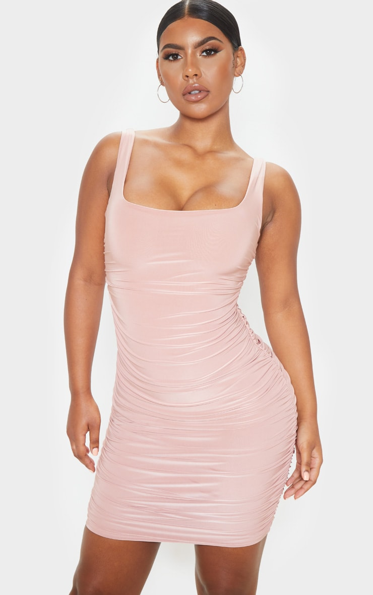 Dusty Rose Slinky Ruched Sleeveless Bodycon Dress 1