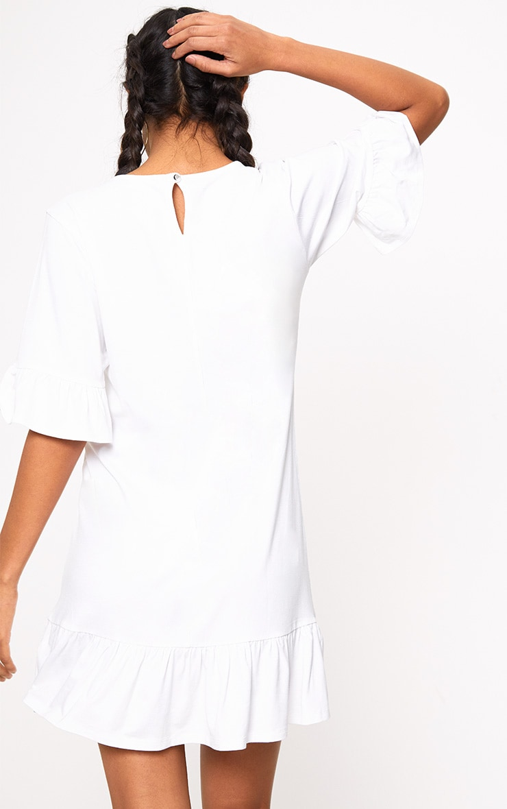 White Jersey Frill Hem Shift Dress 2