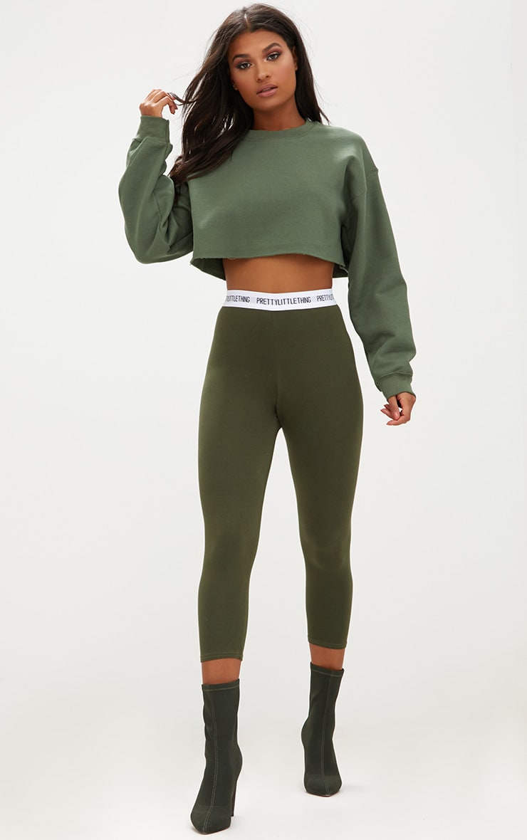 PRETTYLITTLETHING Khaki Cropped Leggings 1