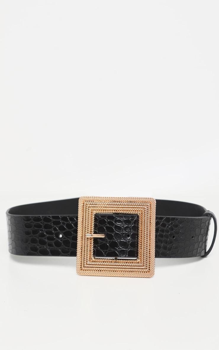 Black Square Buckle Belt 2