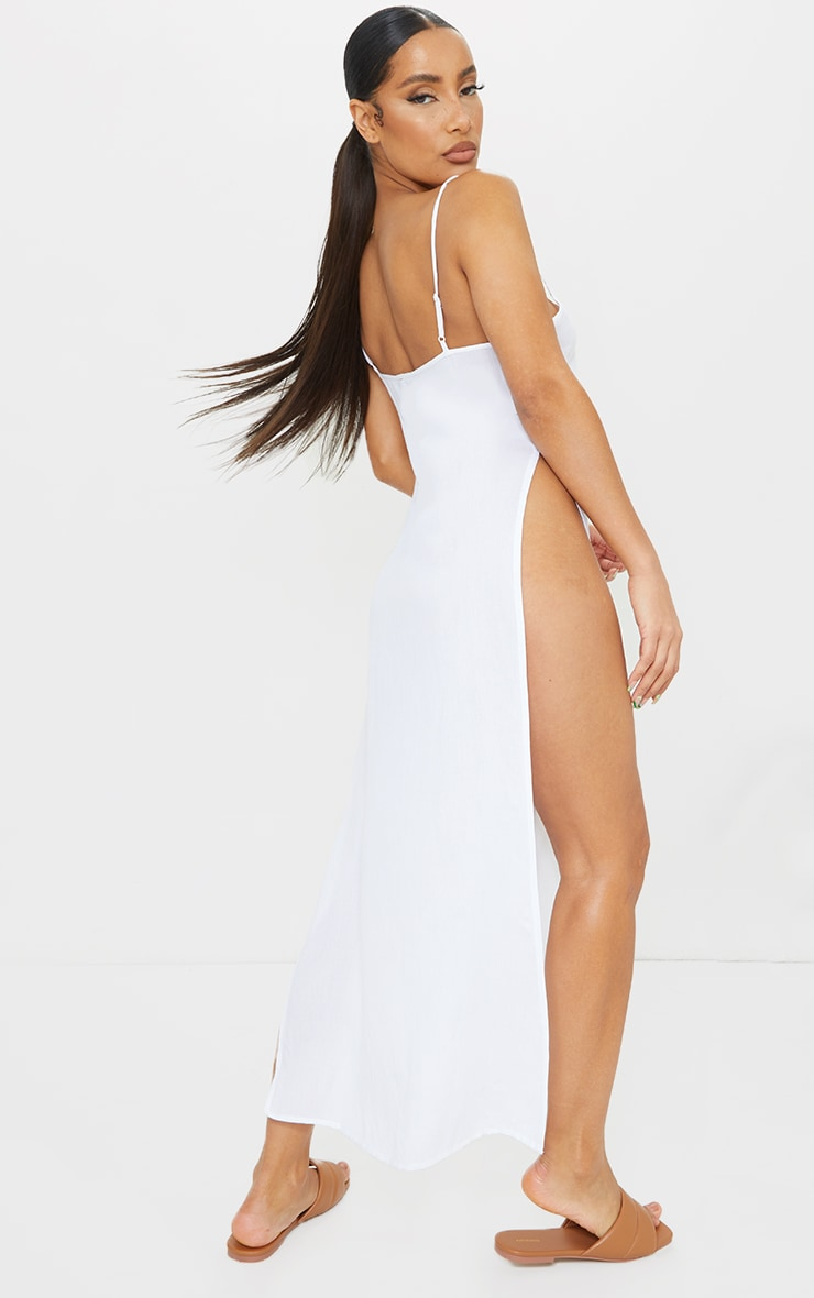 White Cotton High Leg Split Maxi Beach Dress 2