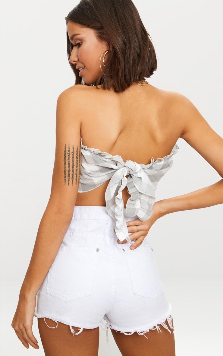 Grey Checked Handkerchief Crop Top  2