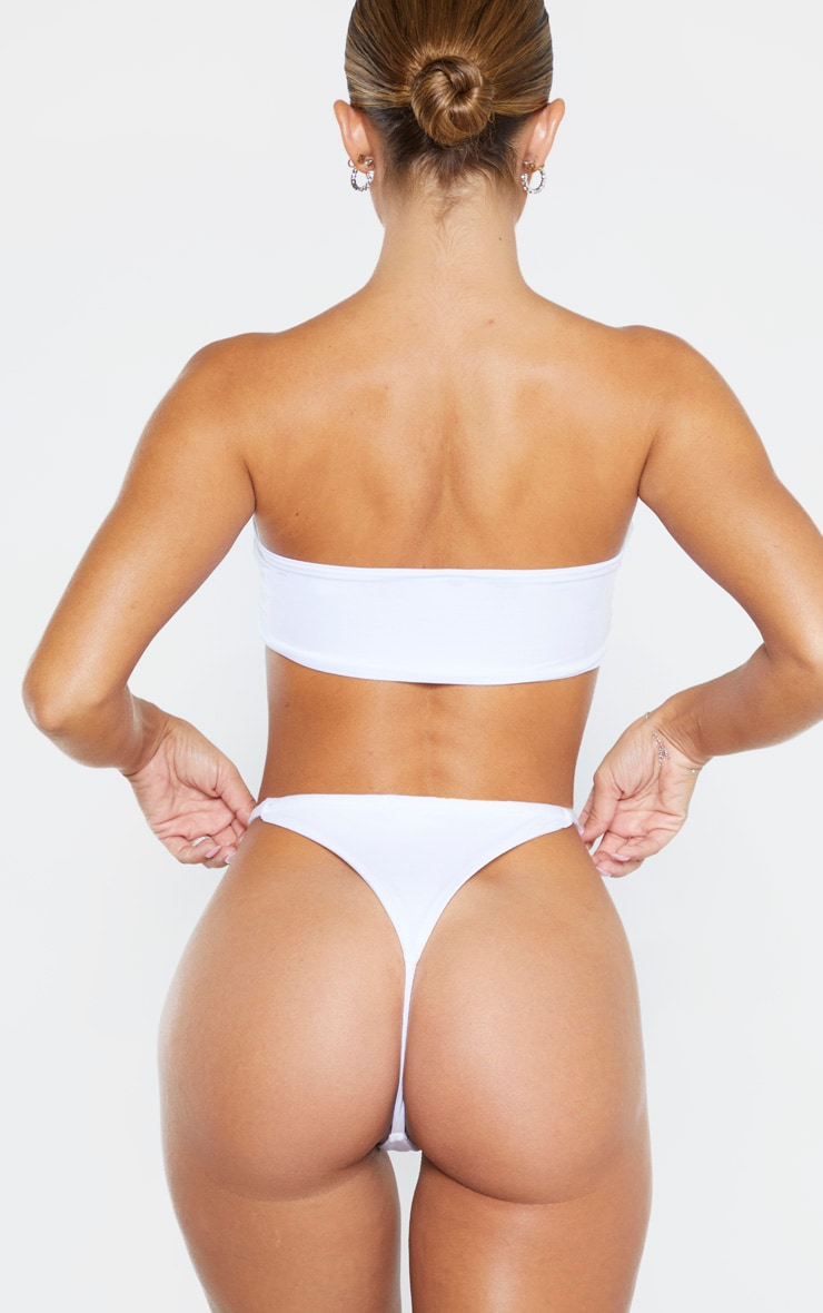 White  Mix & Match String Thong Bikini Bottom 1