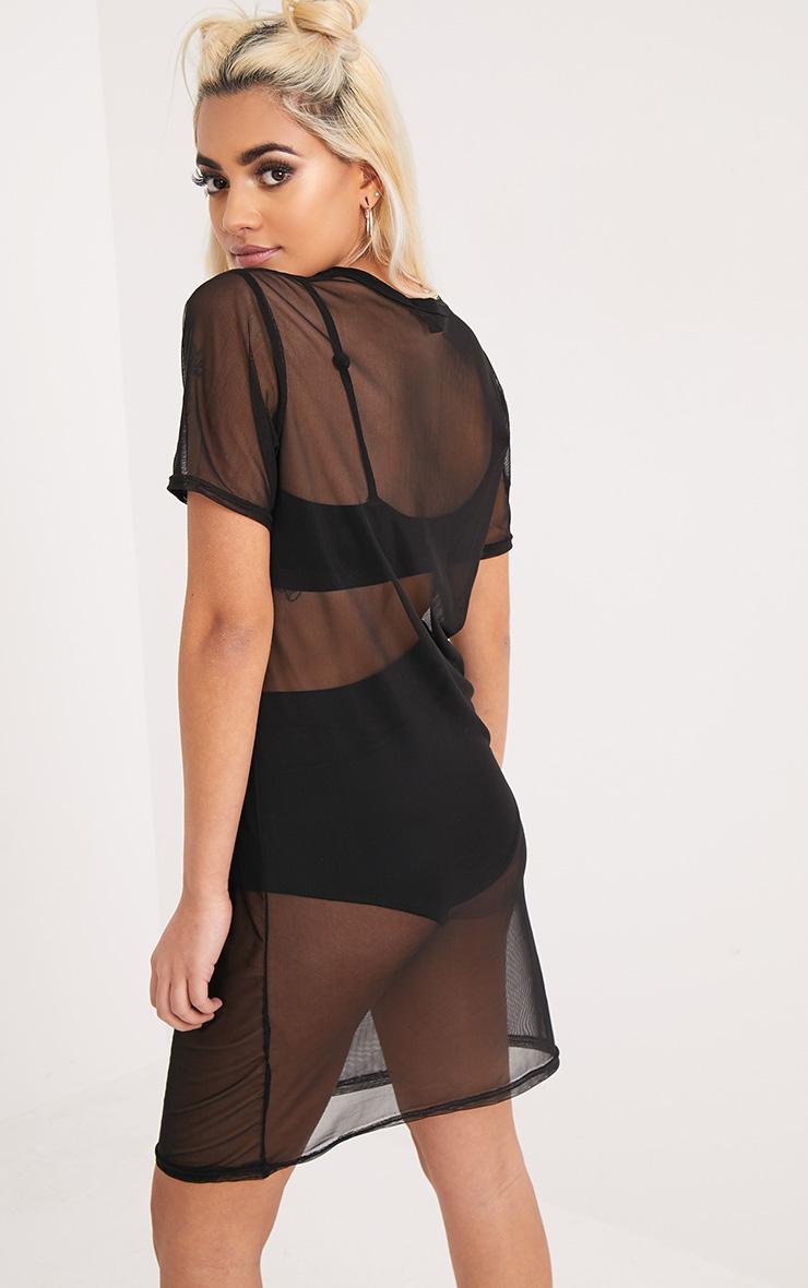 Rockstar Black Mesh T Shirt Dress 2