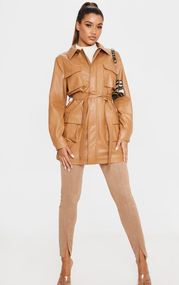 Camel Faux Leather Pocket Oversized Jacket  4