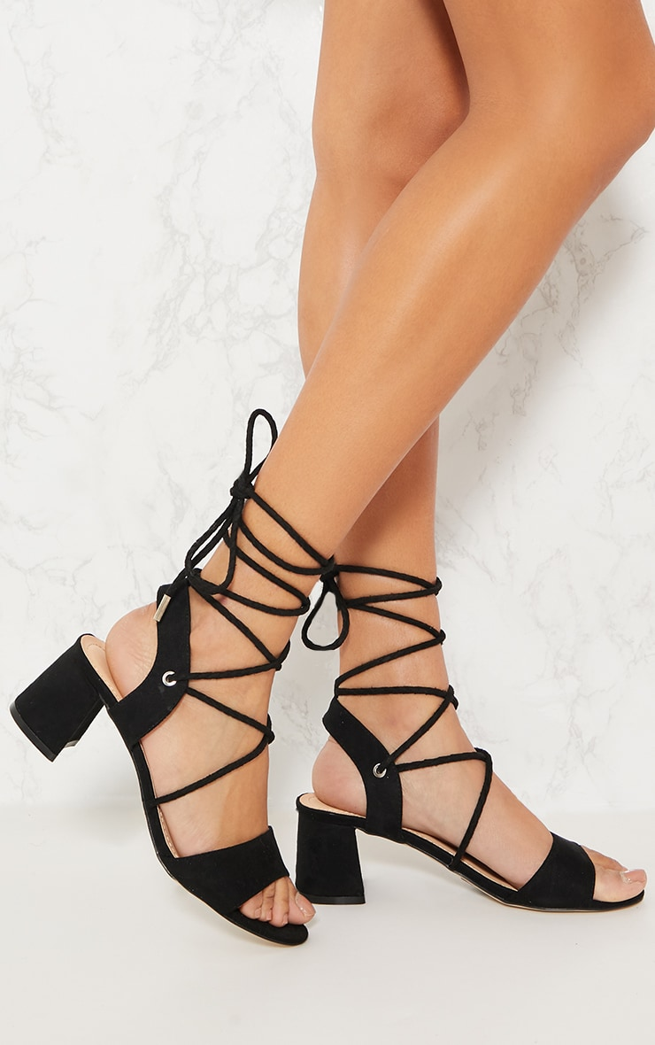 Black Block Heel Ghillie Sandal Pretty Little Thing 706NG